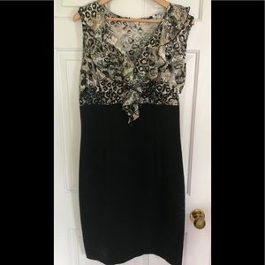 Frank Lyman animal print ruffle black dress